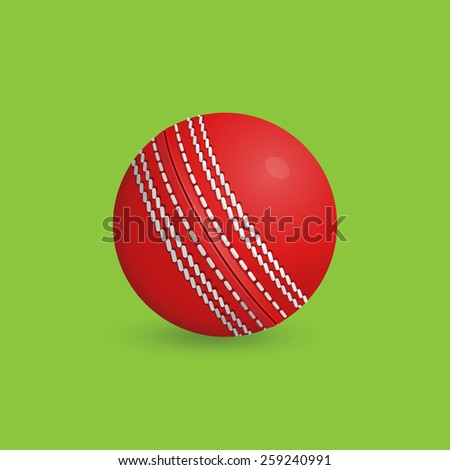 Illustration of a cricket ball: Detailed vector Illustration of red cricket ball on green background
