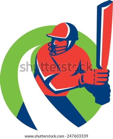 Illustration of a cricket player batsman with bat batting set inside circle done in retro style on isolated background. - stock vector