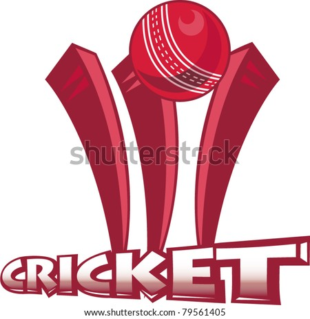 illustration of a cricket sports ball bowling over wicket  on isolated white  background done in retro style - stock vector