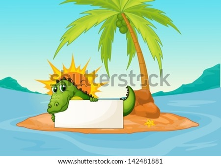 Illustration of a crocodile holding an empty signboard in a small island - stock vector