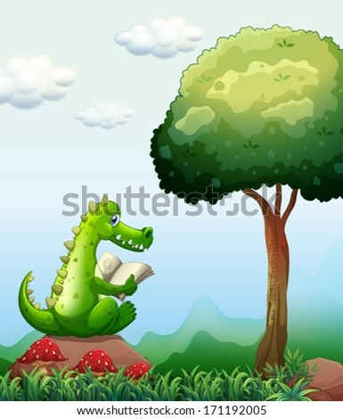 Illustration of a crocodile reading above the rock near the tree