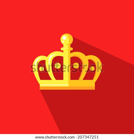 illustration of a crown crown in flat design style - stock vector