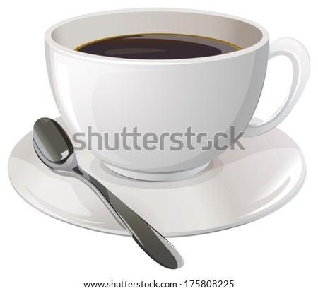 Illustration of a cup of black coffee on a white background