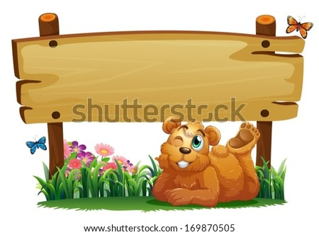 Illustration of a cute bear under the empty wooden signboard on a white background - stock vector
