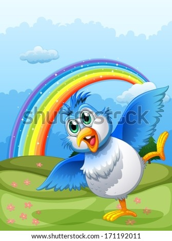 Illustration of a cute bird at the hilltop with a rainbow in the sky - stock vector