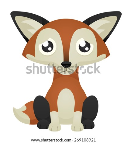 Illustration of a cute cartoon fox sitting with a sad expression. Eps 10 Vector. - stock vector