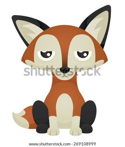 Illustration of a cute cartoon fox sitting with an unimpressed expression. Eps 10 Vector. - stock vector