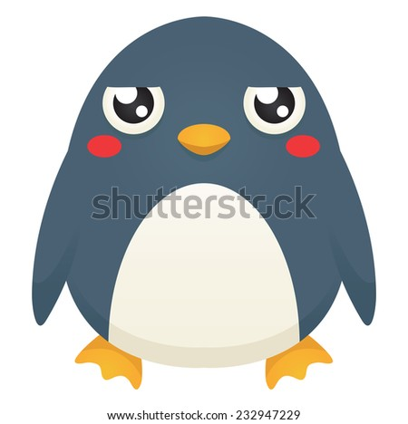 Illustration of a cute cartoon penguin with an unimpressed expression. Eps 10 Vector. - stock vector
