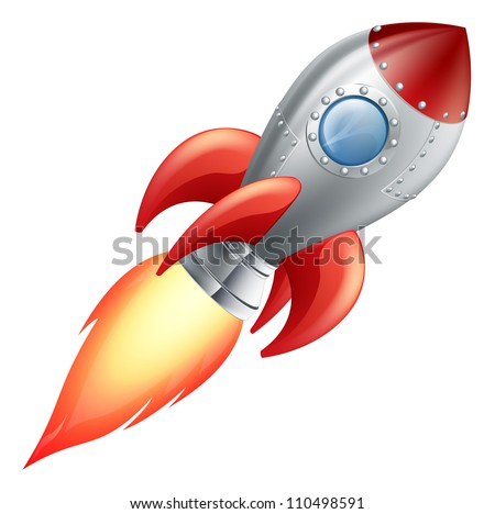 Illustration of a cute cartoon rocket space ship