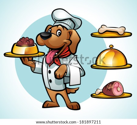 Illustration of a Cute Chef Dog Serving Food - stock vector