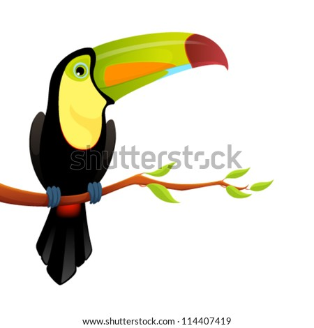 illustration of a cute colorful toucan sitting on a tree branch - stock vector