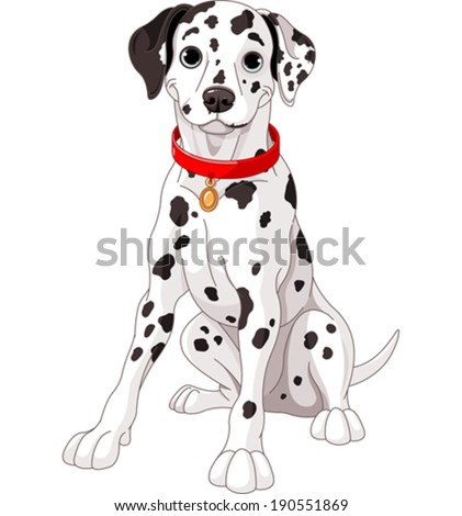 Illustration of a cute Dalmatian dog wearing a red collar - stock vector