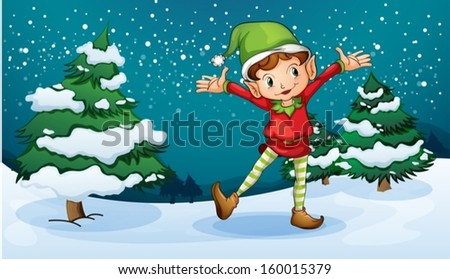 Illustration of a cute dwarf near the pine trees - stock vector