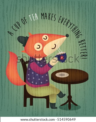 Illustration of a cute fox sitting on a cafe chair and drinking a cup of tea or coffee