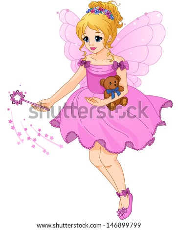 Illustration of a cute girl in a purple dress with fairy wings. Beautiful little princess. Wave a magic wand.  - stock vector