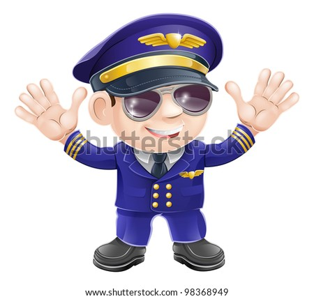 Illustration of a cute happy airplane pilot wearing sunglasses and waving - stock vector