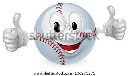 Illustration of a cute happy baseball ball mascot man smiling and giving a thumbs up - stock vector