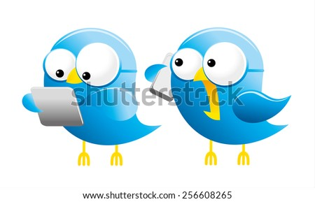 Illustration of a cute happy bluebirds holding a mobile cell phone and tablet - stock vector