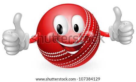 Illustration of a cute happy cricket ball mascot man smiling and giving a thumbs up