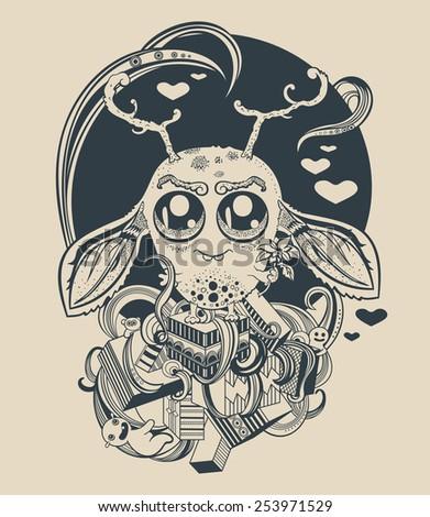 Illustration of a cute little alien creature. - stock vector