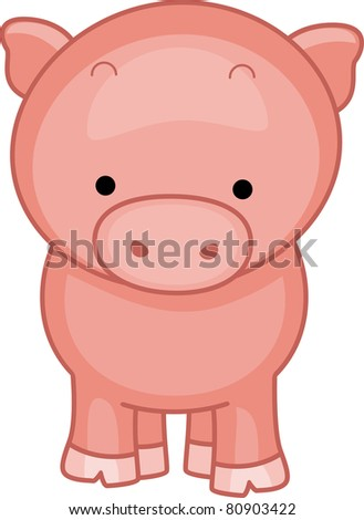 Illustration of a Cute Little Pig - stock vector