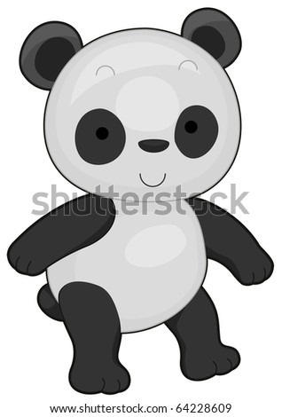 Illustration of a Cute Panda Flashing a Smile While Walking