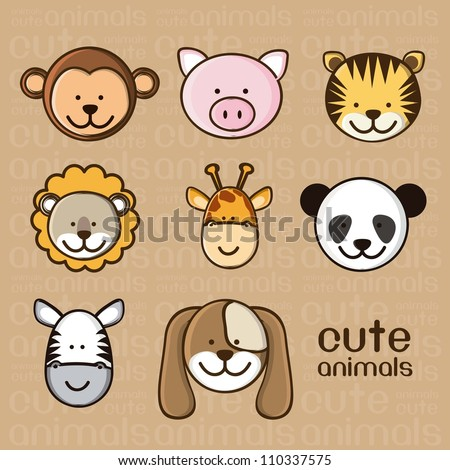 Illustration of a cute pig, monkey, tiger, lion, giraffe, panda, zebra and dog, vector illustration - stock vector