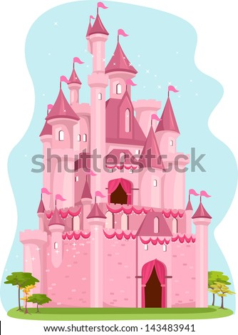 Illustration of a Cute Pink Castle - stock vector