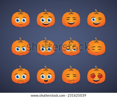 Illustration of a cute pumpkin avatar expression set - stock vector