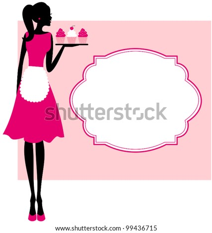 Illustration of a cute retro girl holding a tray with cupcakes and a frame against pink background. - stock vector