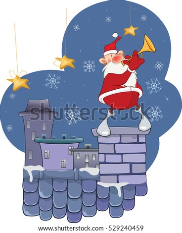Illustration of a Cute Santa Claus Jazz Trumpet  on a Roof.