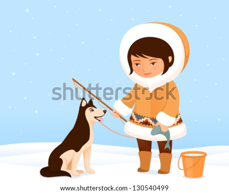 illustration of a cute small Inuit girl and her dog - stock vector