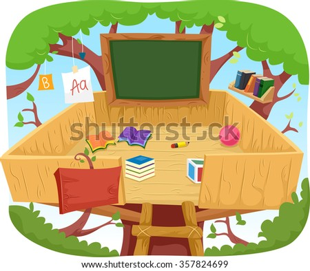 Illustration of a Cute Treehouse Classroom Cluttered with Educational Materials - stock vector