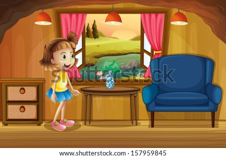 Illustration of a cute young girl in a tree house - stock vector