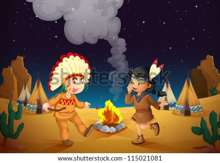 illustration of a dancing boy and girl in night sky - stock vector