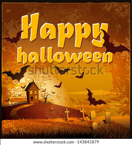 Illustration of a dark landscape with bats useful for the Day of the Dead and Halloween - stock vector