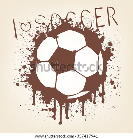 Illustration of a dark print of a soccer ball on a wall. - stock vector