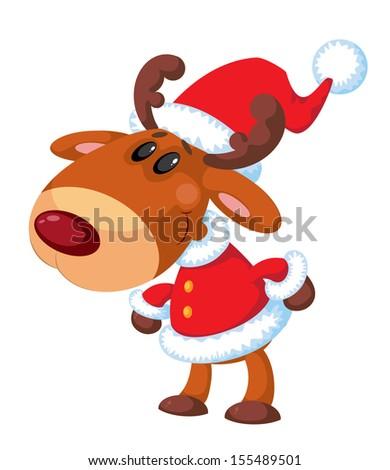 illustration of a deer Santa funny - stock vector