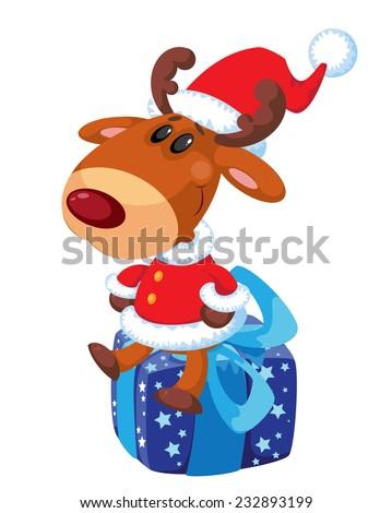 illustration of a deer Santa on the box - stock vector