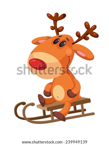 illustration of a deer sitting on a sled