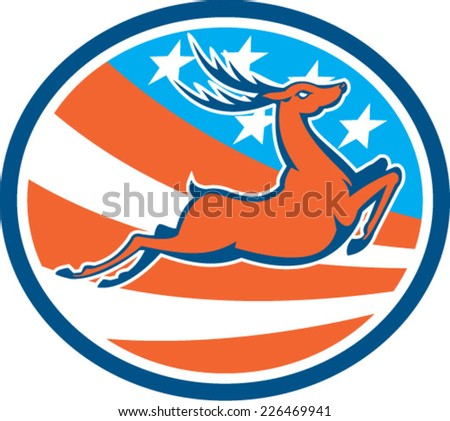 Illustration of a deer stag buck jumping viewed from the side set inside circle with american usa stars and stripes in the background done in retro style.