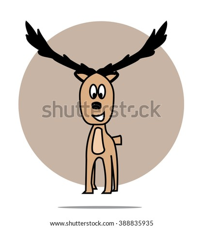 Illustration of a deer with circle background - stock vector
