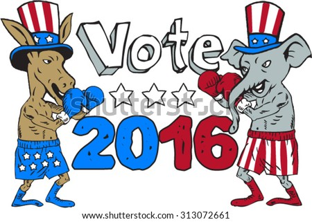 Illustration of a democrat donkey boxer mascot and republican elephant boxer mascot wearing gloves and hat with stars and stripes in a fighting stance with the words Vote 2016 done in cartoon style.  - stock vector