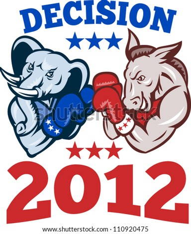 Illustration of a democrat donkey mascot of the democratic and republican elephant boxer boxing with gloves set inside circle done in retro style with words decision 2012 - stock vector