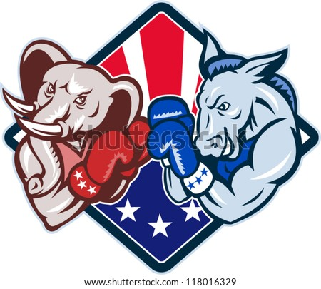 Illustration of a democrat donkey mascot of the democratic and republican elephant boxer boxing with gloves set inside diamond with American stars and stripes flag cartoon style. - stock vector