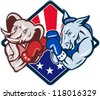 Illustration of a democrat donkey mascot of the democratic grand old party gop and republican elephant boxer boxing with gloves set inside diamond with American stars and stripes flag cartoon style. - stock photo