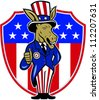 Illustration of a democrat donkey mascot of the democratic grand old party gop wearing hat and suit thumbs up set inside American stars and stripes flag shield done in cartoon style. - stock photo