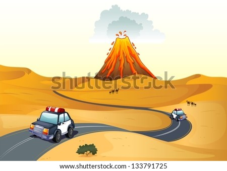 Illustration of a desert with two patrol cars - stock vector