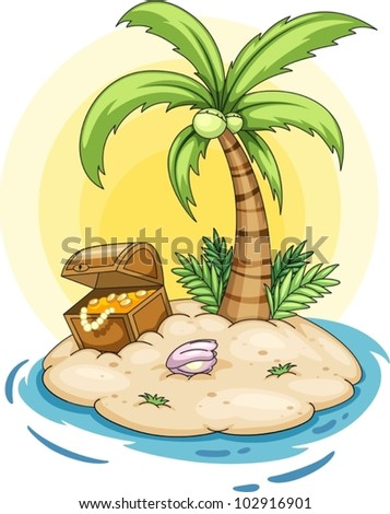 Illustration of a deserted island