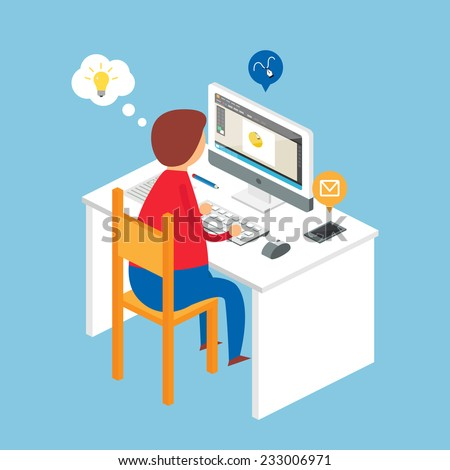 Illustration of a designer sitting at the desk and working on the computer, isometric style  - stock vector